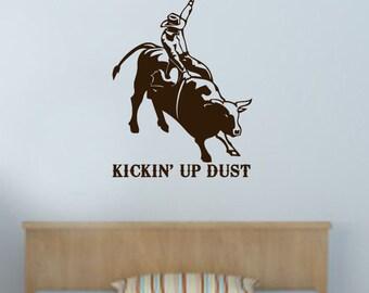 Kickin' up Dust Bull Rider Vinyl Wall Art Decal
