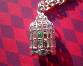 Silver Metal Birdcage with Green Bird, Silver Chain, Necklace, Pendant