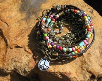 Leather wrap bracelet, Boho...Hippie Girl....Endless Leather....Chain......Multi-Media Wrap