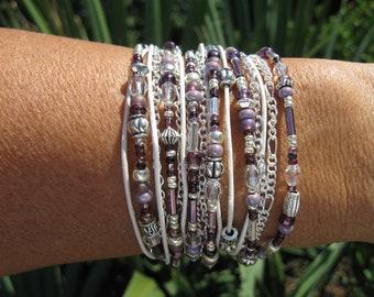 Wrap Bracelet, Lavender and Leather