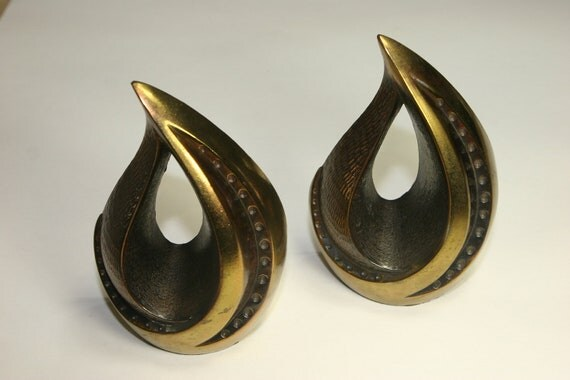 RESERVED for sE' Ben Seibel 50s or 60s Flame or Teardrop Bronze Bookends Nice Patina