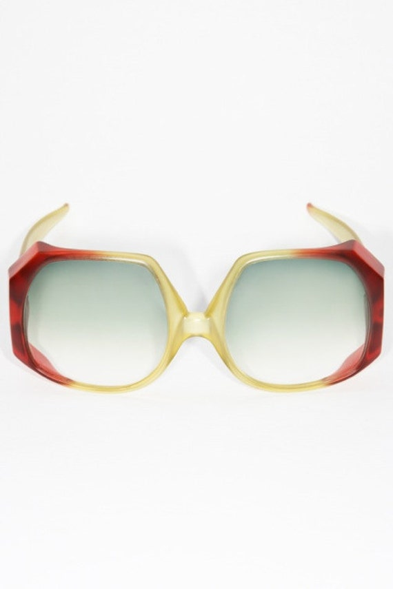 fabulous vintage 1970s CHRISTIAN DIOR red green huge bold frame sunglasses