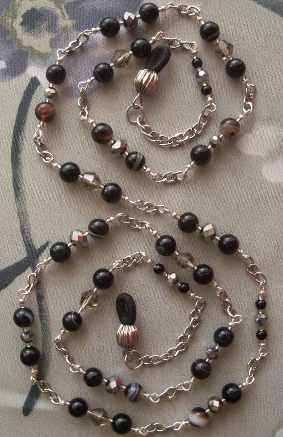 EYE GLASS HOLDER, Eye Glass Chain, Silver Plated Chain, Crystal, Onyx, Czech Glass, Handmade Eye Glass Custom Lanyard