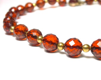 Vintage Glass Vermeil Necklace 19 Inches Long