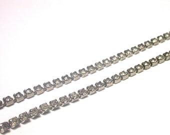 Vintage Rhinestone Necklace - One Strand Necklace - Clear Rhinestones - Bridal necklace