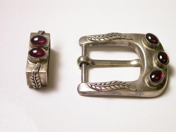 Reserved 925 Silver and Garnet Belt Buckle