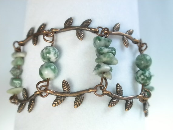 Copper Leaf Cuff Bracelet with Tree Agate Beads