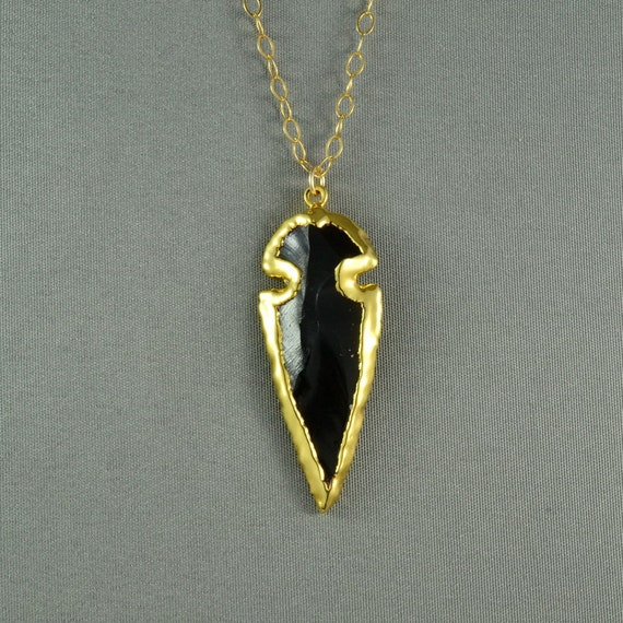 Black Obsidian Arrowhead Necklace, Edged in 24K Gold, 14K Gold Filled Chain, Stunning, Gorgeous, also in Sterling Silver