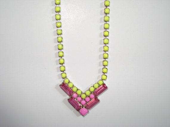 Sparkling Lemonade Hand Painted Vintage Rhinestone Necklace