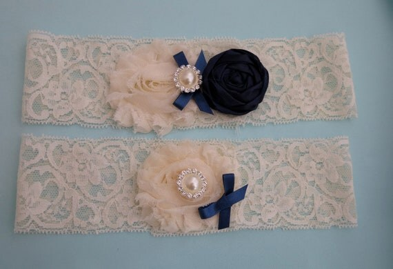 Wedding garter/ Bridal Garter/ Vintage garter/ Ivory Lace garter / Lace garter/ Stretch lace garter/ Navy Blue Garter/ Wedding accessory