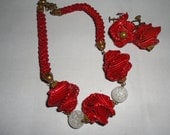 red unique rafia earrings and necklace