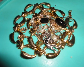 junk jewelry lot repair wear destash, recycle, media art jewelry making odds and ends necklaces etc...