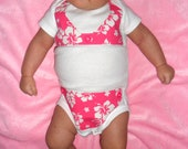 Bikini Swimsuit Onesie with Hot Pink Hawaiian Hibiscus Flower Fabric for Breast Cancer Fund