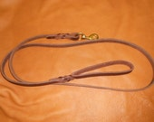 Leather Dog Leash 3/4 wide X 6 ft. w/ Solid Brass Snap. Durable Harness Leather