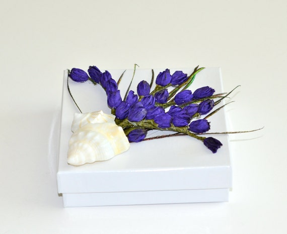 Shell Peacock Feather Lavender Bouquet Jewelry Gift Box Wedding