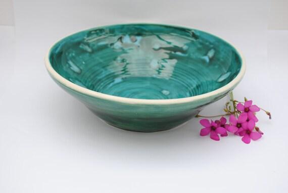 Teal fruit bowl, Crystal Glaze Bowl, Ideal Gift