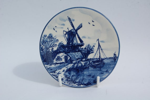 VINTAGE Delft Plate Windmill, Hand Painted Blue Delft Plate Made in Holland