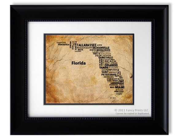 Father's day gift Unique housewarming gift Cities of FLORIDA State Florida Map Cities Towns - Unique Vintage Style Christmas gift for Him