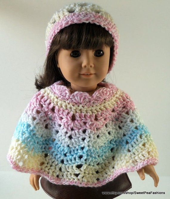 Cotton Candy Striped Crocheted Poncho and Hat