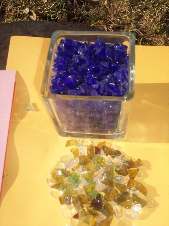Cobalt Blue Glass  For Terrariums, Fairy Gardens, Vivariums Crushed and Tumbled- 1/2 lb