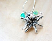 Nautical Octopus Necklace, Beach Jewelry, Metal and Crystals Crystals