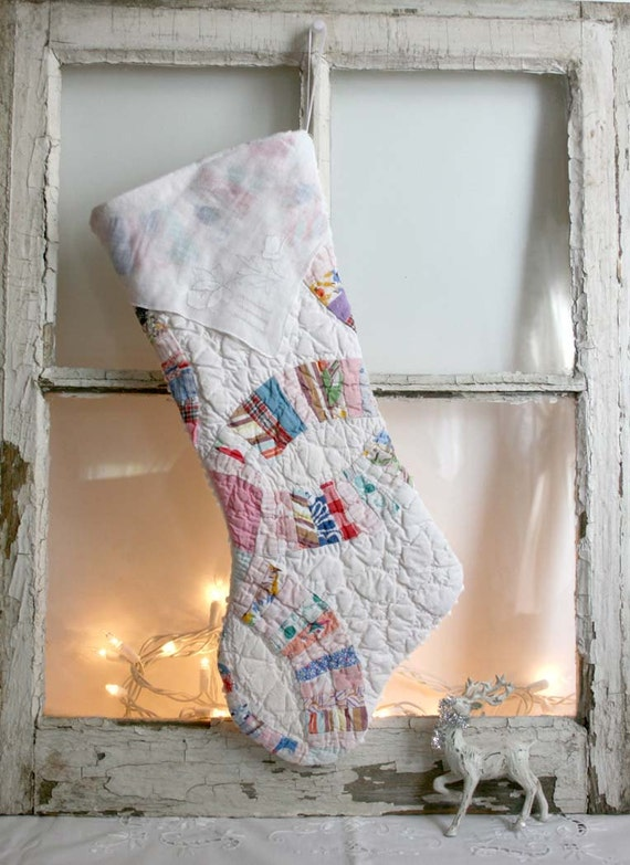 christmas stocking from vintage quilt by theheirloomshoppe