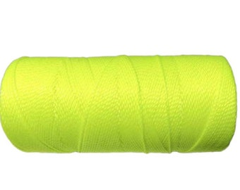 Bracelet Cord, Waxed Polyester Cord, 15 meters/16 yards Beading String, Friendship Bracelet Cord - Neon Yellow