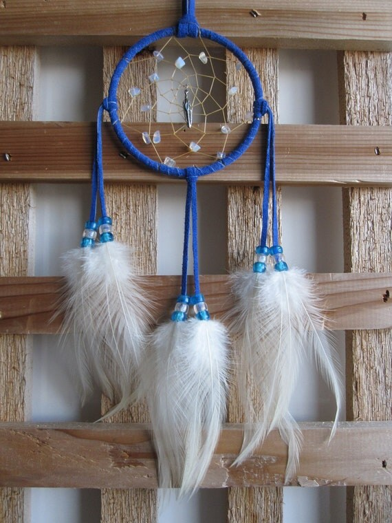 Navy Blue Dream Catcher with Rooster Cape Feathers
