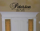 """Customized Personalized Family Last Name Vinyl Wall Decal with Date Established Living Room Entry Way Foyer 15""""H x 34"""" W"""
