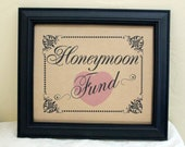 8 x 10 Card and Gift Honeymoon Fund Wedding Sign - Single Sheet (Style: HONEYMOON)