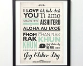 Love Sign, Typography Poster, I Love You In Different Language, Motivational Poster, Typography Wall Art, Vintage Art, Quote Prints