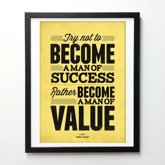Albert Einstein quote poster  - Become a man of Value - Vintage-style typography art print A3