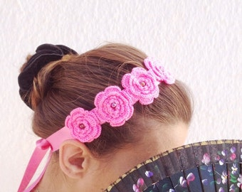 Pink crochet flowered headband with satin ribbon and bead ,wriststrap,collar,Bracelet, tiara, touch,
