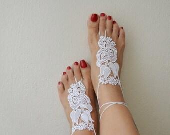 LUX Wedding White Barefoot Sandals,ottoman tulip figure lace , Victorian Lace, beach wedding
