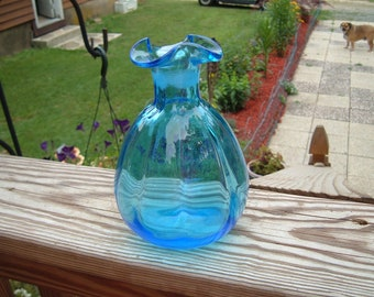 Vintage Ruffled Edge Hand Blown Ribbed Blue Vase