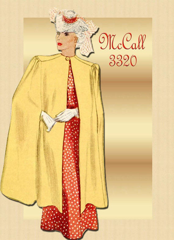 Vintage 1930s Cape Pattern McCall 3320 Lined Cape in Two Lengths Size Small