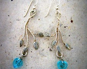 Hand Carved Cast Sterling Silver Branch and Leaf Dangle Earrings with Glass Beads