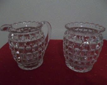 Pressed glass sugar/creamer set