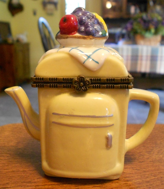 Porcelain Trinket Box - Teapot Shaped like a Refrigerator - Yellow with a Bowl of Fruit on Top