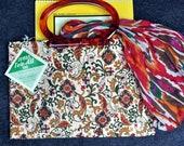 Vintage NOS Folding Snap Up Shopping Tote Bag Floral Tapestry Print