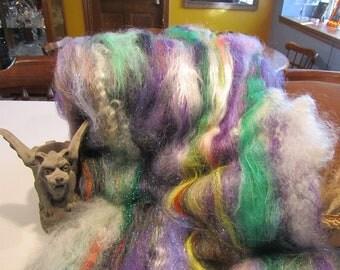SKELETONS in the CLOSET, 4.0 oz, fiber art batt for spinning, art batt, spinning fiber, fiber art, textured bling batt, Angelina fiber