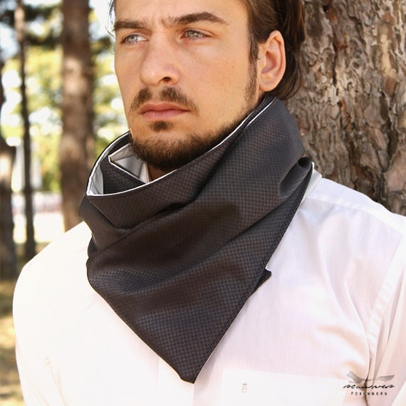 Long Cotton Scarf for Men - Reversible light blue summer scarf for men - anniversary gifts for husbands - MI