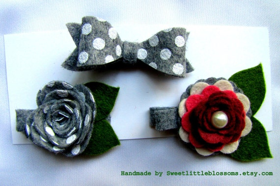 Felt Hair Clip Set - Oh So Pretty in Grey and White Polkadots Collection - M2M Matilda Jane Girl Accessory