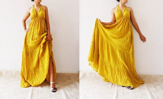 Mexi Dress Sexy  Yellow  Cotton