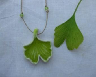 Ginkgo Leaf Pendant,          Botanical Jewelry, Ginkgo Necklace, Ginkgo Jewelry, Ceramic Zen Jewelry, Aromatherapy Pendant Jewelry