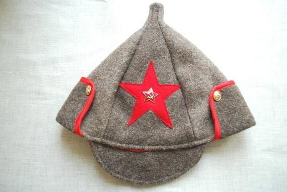 Russian budenovka-Wool warm hat-Unisex-Men,women,geek-Army-Red star