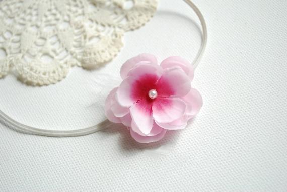 Cute cherry blossom -skinny elastic headband-Newborn head band,baby photography prop,flower girl-Pink flower-Baby hairband-Pink baby flower