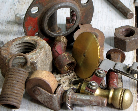 scrap destash - assemblage rusted found items