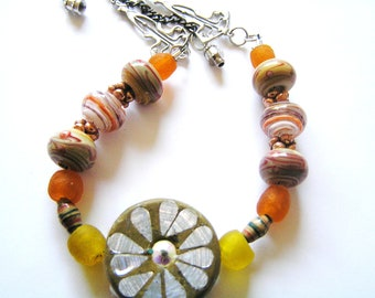 Kashmiri Bead, Yellow & Orange Recycled Glass Beads, Orange Swirled Lampwork Glass, and African Paper Bead Chain Style Necklace