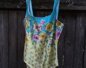 Vintage Jantzen pansy cotton swimsuit